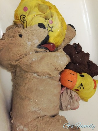 犬のぬいぐるみおもちゃ洗濯