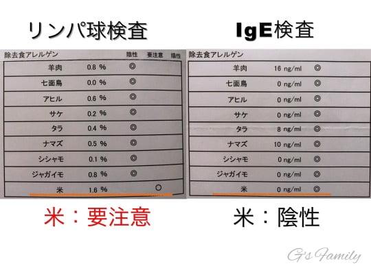 犬のアレルギー検査結果・米の比較Ige検査とリンパ球検査