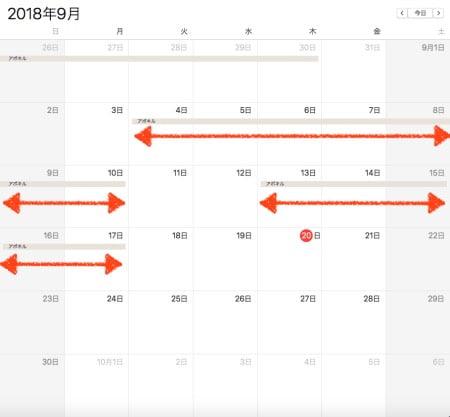 2018年9月アポキル錠の服用記録
