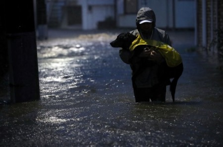 台風19号浸水の中犬と避難する男性