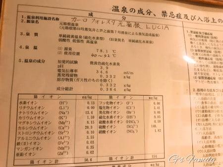 元箱根ルチアの源泉かけ流し温泉成分表示