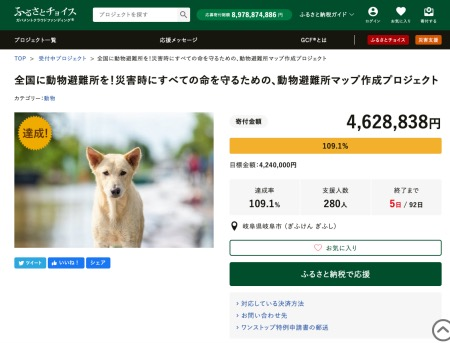 ふるさと納税ガバメントクラウドファンディング「岐阜県岐阜市災害時の動物避難所を作るプロジェクト」