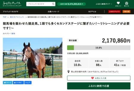 競馬の引退馬を支援できるガバメントクラウドファンディング